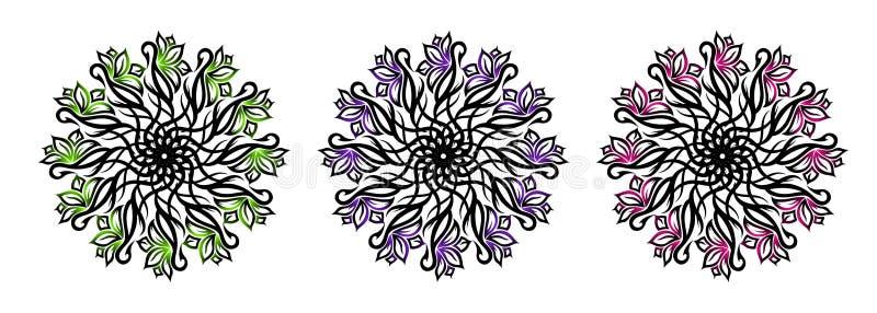Ajuste de três flores decorativas tribais Ilustração do vetor ilustração stock