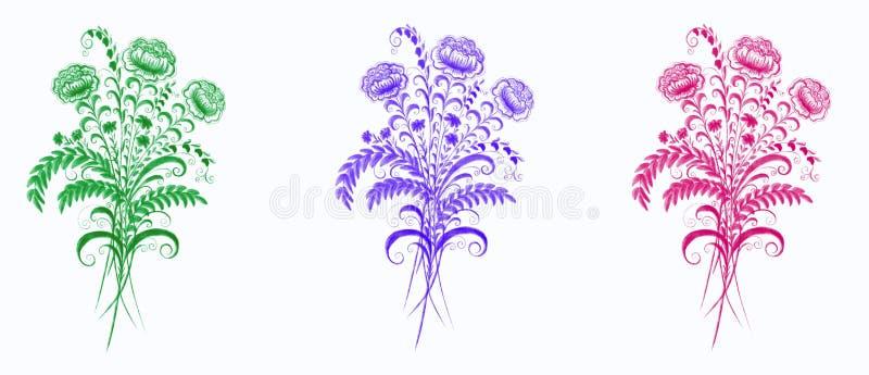 Ajuste de três ramalhetes em um fundo branco ilustração royalty free