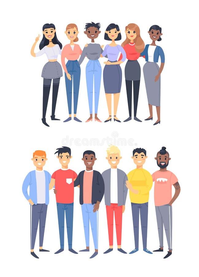 Ajuste de um grupo de homens e de mulheres diferentes Car?teres do estilo dos desenhos animados de ra?as diferentes, g?nero Ilust ilustração stock