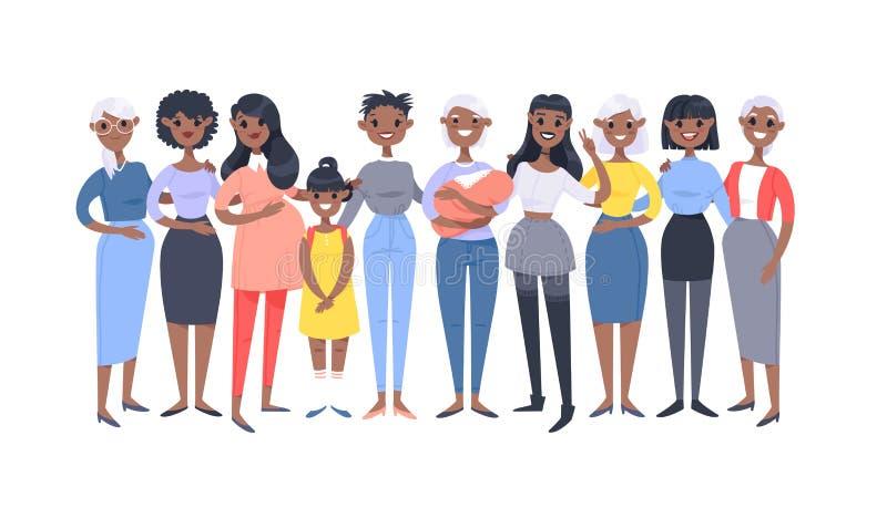 Ajuste de um grupo de mulheres afro-americanos diferentes Caráteres do estilo dos desenhos animados de idades diferentes Povos da ilustração do vetor