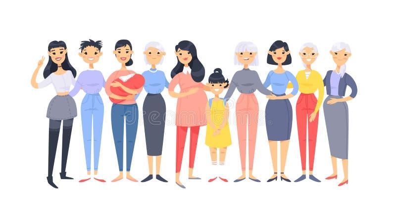 Ajuste de um grupo de mulheres americanas asiáticas diferentes Caráteres do estilo dos desenhos animados de idades diferentes Pov ilustração royalty free