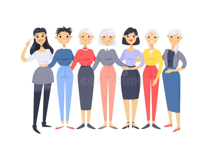 Ajuste de um grupo de mulheres americanas asi?ticas diferentes Car?teres do estilo dos desenhos animados de idades diferentes Pov ilustração stock