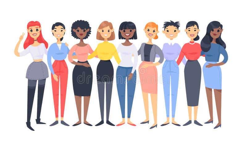 Ajuste de um grupo de mulheres diferentes Car?teres do estilo dos desenhos animados de ra?as diferentes Ilustra??o do vetor cauca ilustração royalty free