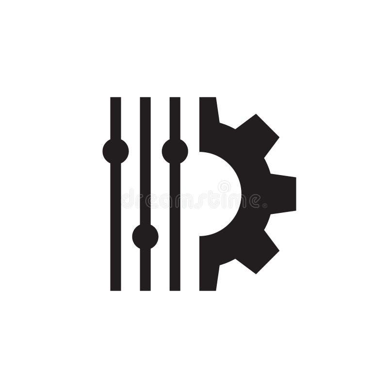 Ajuste del control del filtro - diseño del icono del negro del concepto S?mbolo de la disposici?n Muestra del engranaje SEO Ilust ilustración del vector