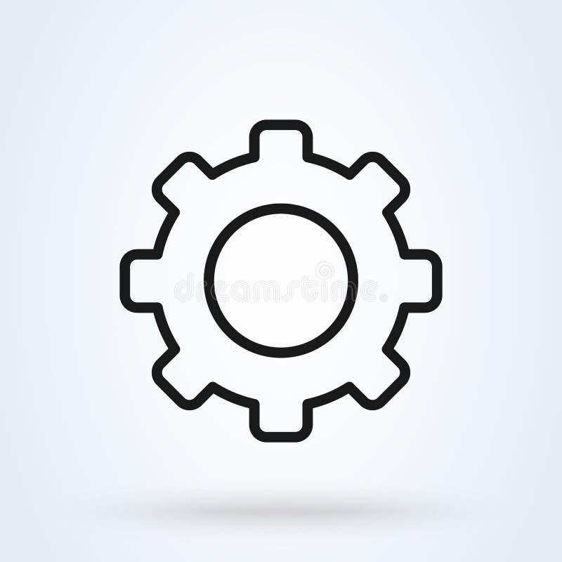 Ajuste del engranaje Línea ejemplo moderno del diseño del icono del vector simple del arte libre illustration