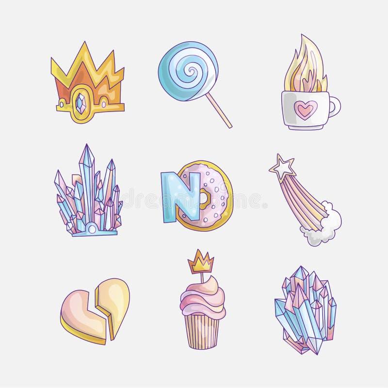 Ajuste do ícone bonito da forma da princesa e das meninas Grupo bonito de elementos tirados mão da princesa - coroa do vetor, pir ilustração royalty free
