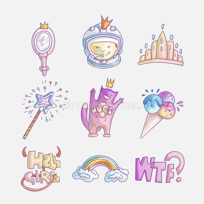 Ajuste do ícone bonito da forma da princesa e das meninas Grupo bonito de elementos tirados mão da princesa - tiara do vetor, cos ilustração stock