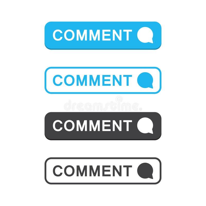 Ajuste do ícone do botão do comentário em um projeto liso ilustração do vetor