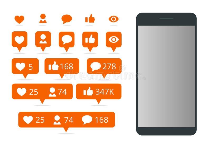 Ajuste do ícone como, do comentário do ícone do seguidor do ícone e do telefone Uma comunicação em redes sociais Tela com inclina ilustração do vetor