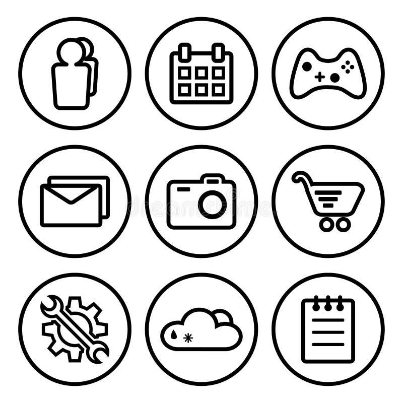 Ajuste do ícone da aplicação, ícones do menu Ilustração do vetor ilustração stock