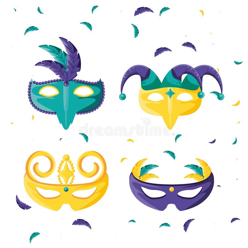 Ajuste do ícone da celebração do carnaval das máscaras ilustração stock