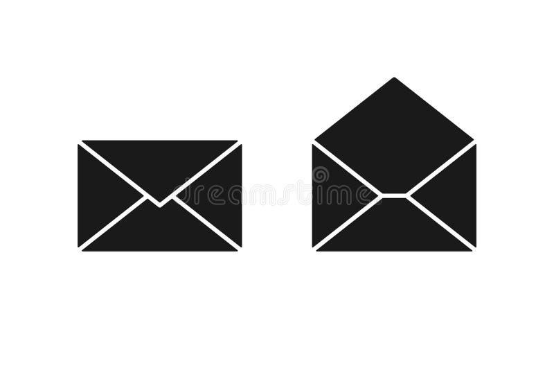 Ajuste do ícone isolado preto do envelope aberto no fundo branco Silhueta do envelope postal Correio, e-mail Projeto liso ilustração royalty free