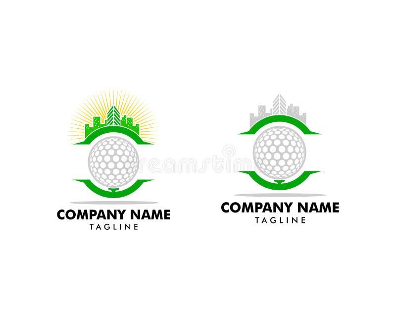 Ajuste do ícone Logo Design Element da cidade do golfe ilustração stock