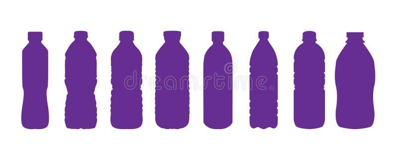 Ajuste do ícone plástico isolado da garrafa de água no fundo branco ilustração stock