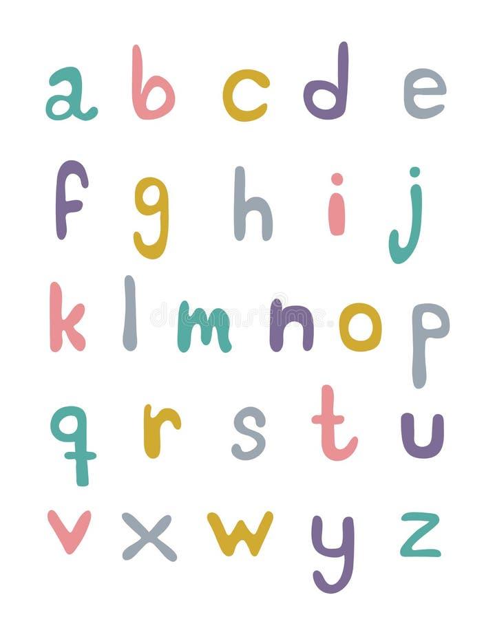 Ajuste do alphabeth escrito mão nas cores pastel em um fundo branco ilustração do vetor
