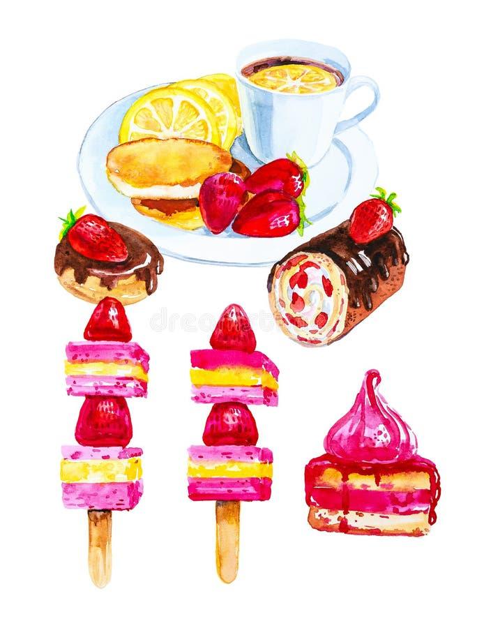 Ajuste do bolo de Bush, a filh?s e rolo doce com morangos, canapes dos queques e das morangos, ch? com lim?o e panquecas na ilustração stock
