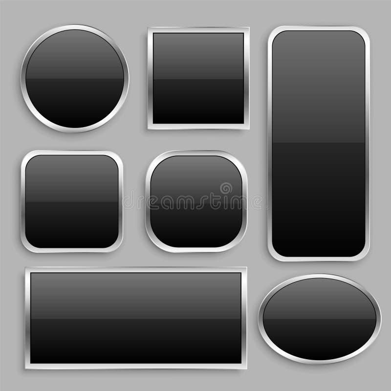 Ajuste do botão lustroso preto com quadro de prata ilustração stock