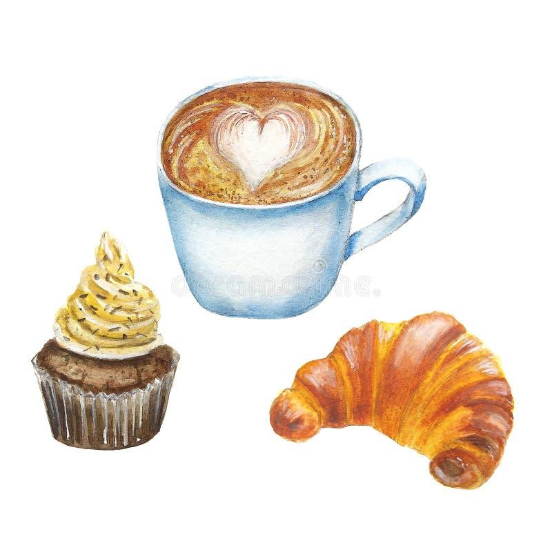 Ajuste do café e dos biscoitos ilustração stock