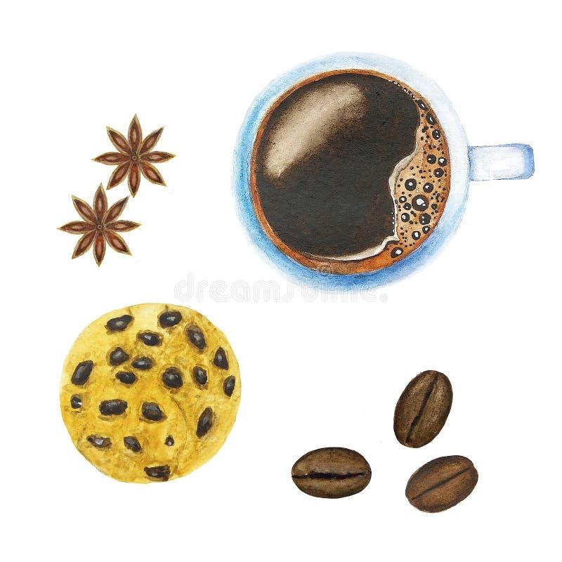 Ajuste do café e dos biscoitos ilustração do vetor