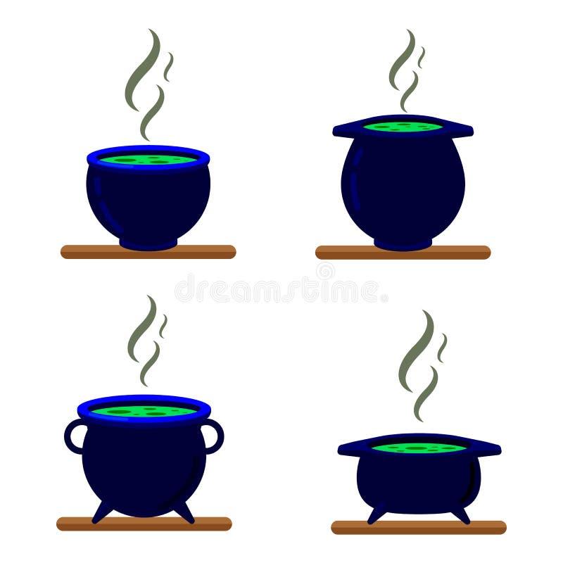 Ajuste do caldeirão preto do ferro isolado no branco ilustração stock