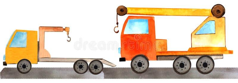 Ajuste do caminhão com um guindaste e um caminhão de reboque na estrada ilustração da aquarela para cópias, compartimentos e cart foto de stock