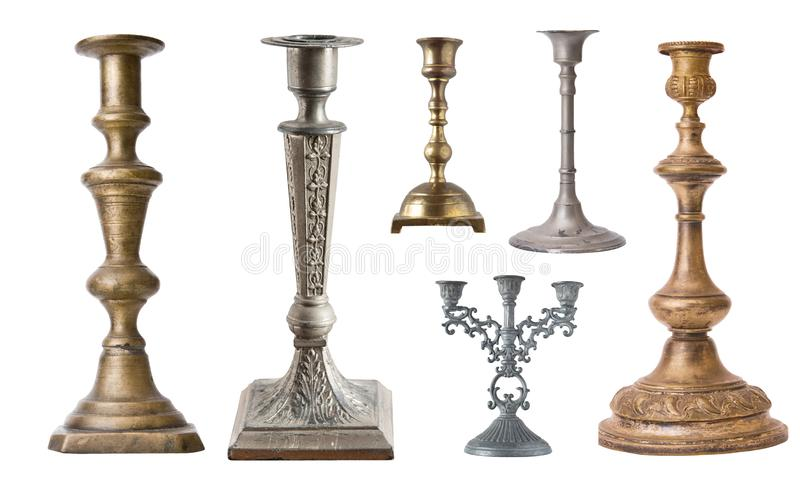 Ajuste do candelabro diferente do vintage, suporte da vela, castiçal isolado no fundo branco fotografia de stock royalty free