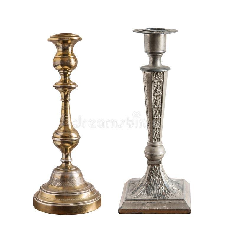 Ajuste do candelabro diferente do vintage, suporte da vela, casti?al isolado no fundo branco foto de stock royalty free