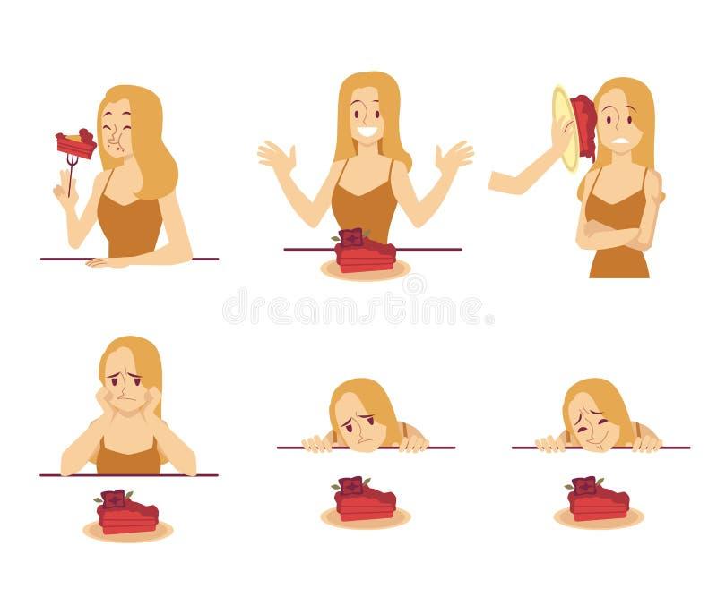 Ajuste do caráter da mulher com estilo dos desenhos animados das emoções do sentimento do bolo vário ilustração stock