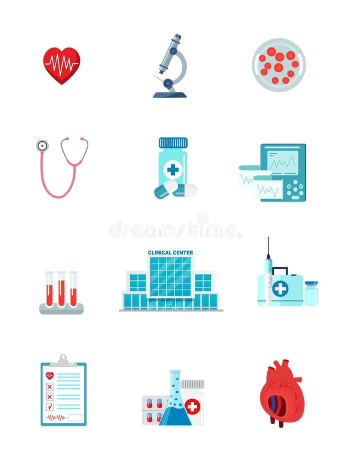 Ajuste do caráter dos ícones da medicina ilustração stock