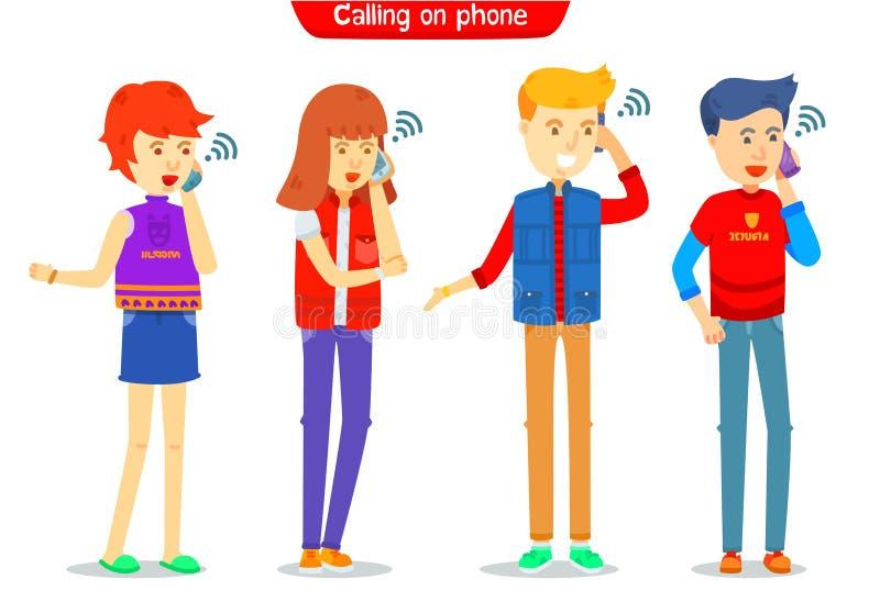Ajuste do caráter do indivíduo e da menina que chama o telefone com símbolo, homem e fêmea do sinal para estar no telefone, chama ilustração royalty free