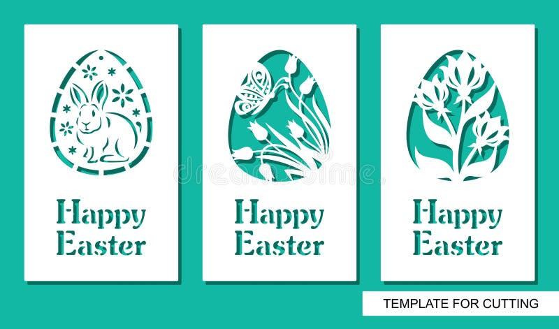 Ajuste do cartão com ovos e a Páscoa feliz do texto ilustração stock