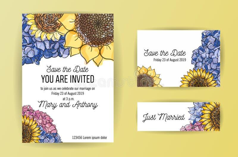 Ajuste do cartão do convite do casamento com as flores da hortênsia e do girassol Molde do projeto do convite do casamento A5 no  ilustração royalty free