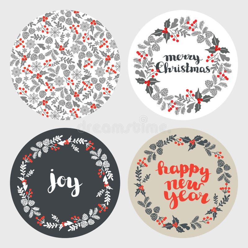 Ajuste do cartão, dos elementos e das ilustrações de Natal do inverno ajuste dos fundos redondos para cartões do ano novo ilustração stock