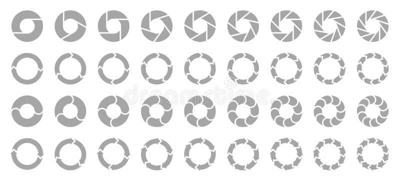 Ajuste do cinza diferente das setas dos gráfico de setores circulares ilustração stock