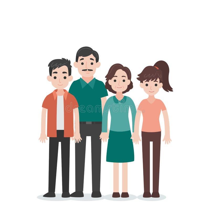 Ajuste do conceito de família do caráter dos povos fotografia de stock