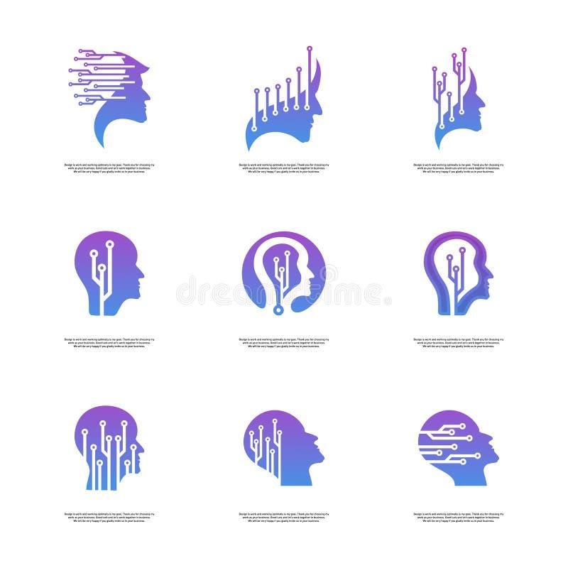 Ajuste do conceito principal do logotipo da tecnologia, vetor do logotipo de Brain Robotic - vetor ilustração royalty free