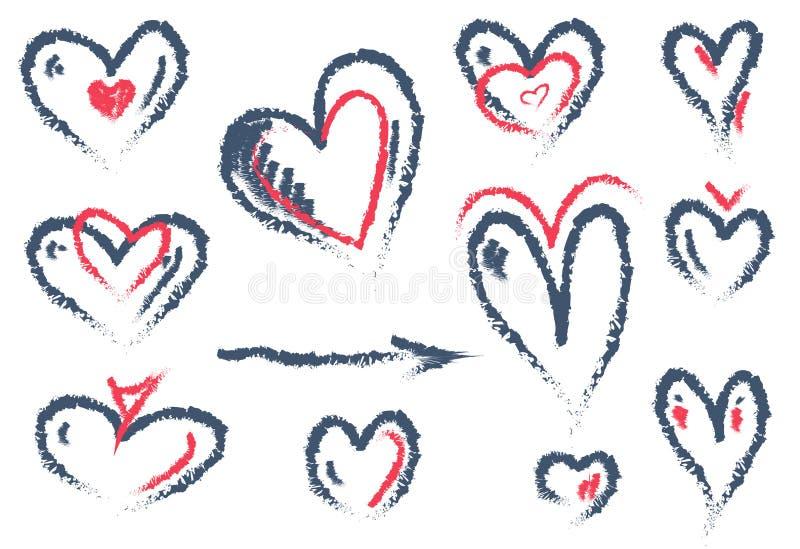 Ajuste do coração tirado mão isolado no fundo branco Símbolo do amor Ilustração do vetor para o dia dos Valentim ilustração royalty free