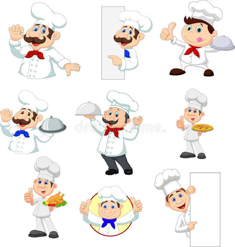 Ajuste do cozinheiro chefe dos desenhos animados no fundo branco ilustração royalty free