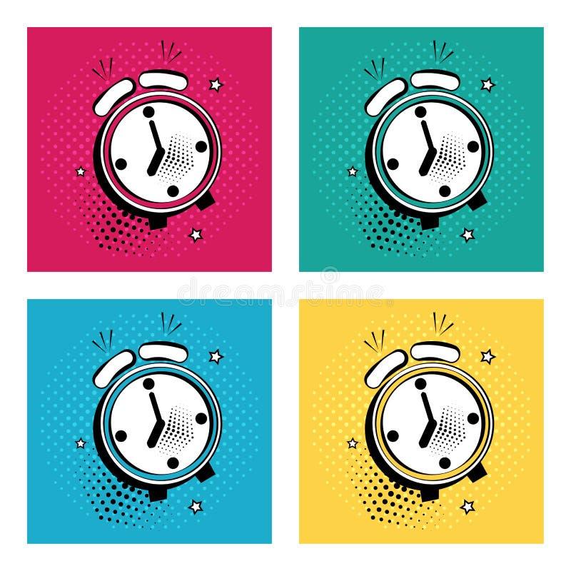 Ajuste do despertador cômico com as estrelas no fundo colorido no estilo do pop art Ilustração do vetor ilustração do vetor