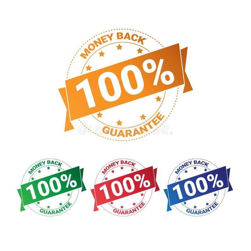 Ajuste do dinheiro colorido do crachá para trás com garantia o selo de 100 por cento a coleção de selos que se isolou ilustração royalty free