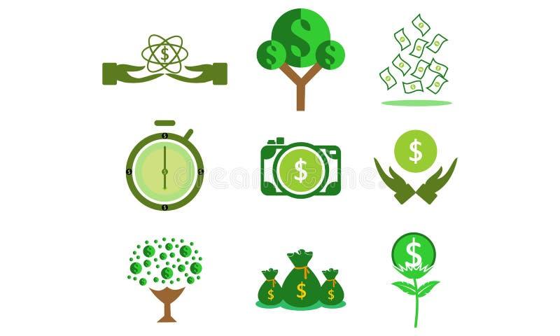 Ajuste do dinheiro, vetor do logotipo do dólar do pulso de disparo ilustração royalty free