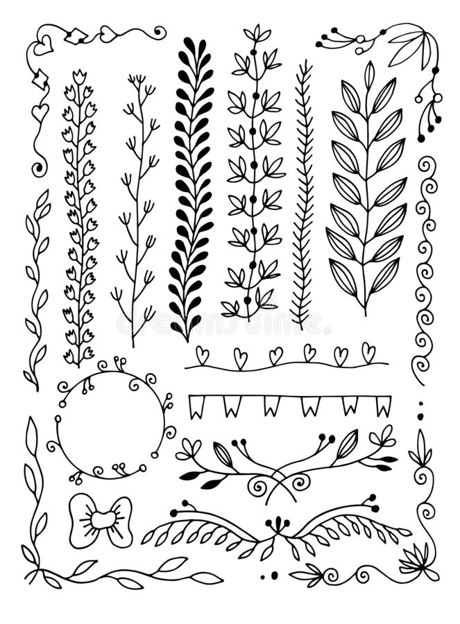 Ajuste do divisor da página da garatuja do desenho da mão, beira, canto no estilo floral da garatuja ilustração stock
