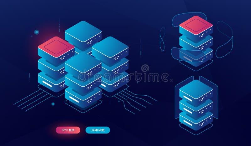 Ajuste do elemento da sala do servidor, processo de dados grande isométrico, conceito do banco de dados do centro de dados, tecno ilustração stock