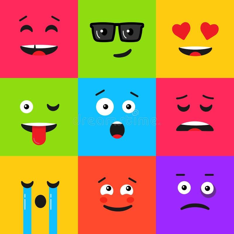 Ajuste do emoticon colorido Teste padrão do fundo com emoji ilustração do vetor