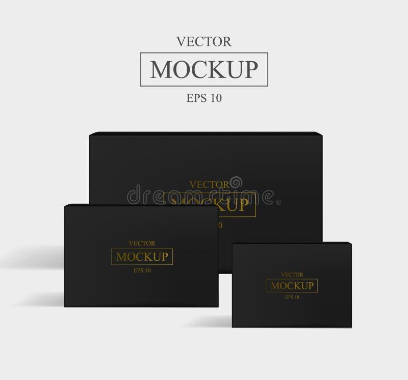 Ajuste do empacotamento quadrado realístico do cartão imagem de stock