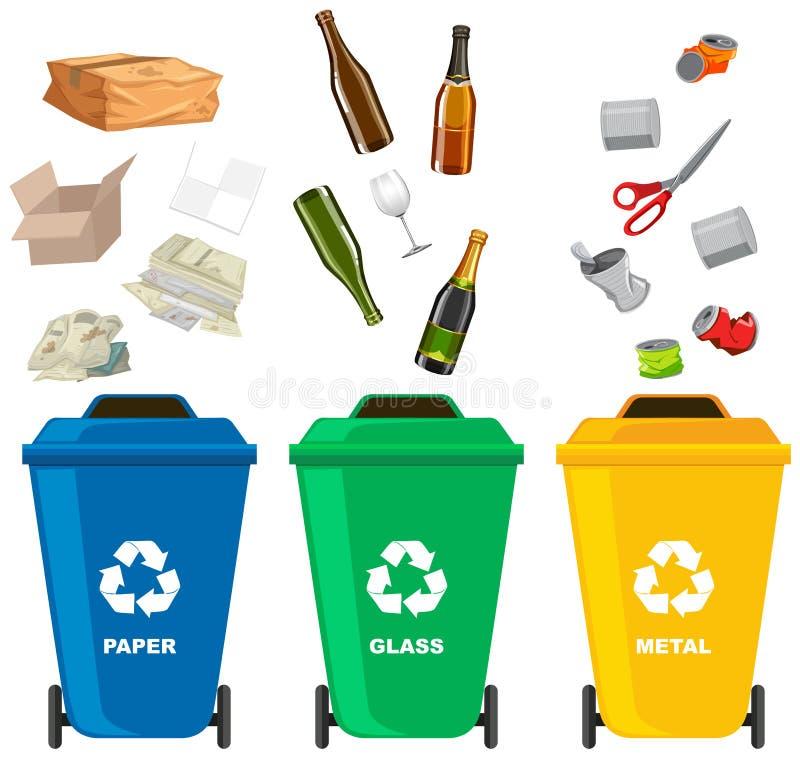Ajuste do escaninho de lixo diferente ilustração royalty free