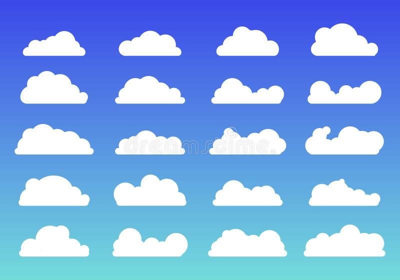 Ajuste do estilo liso na moda dos ?cones brancos das nuvens no fundo azul S?mbolo ou logotipo da nuvem, diferente para seu projet ilustração stock