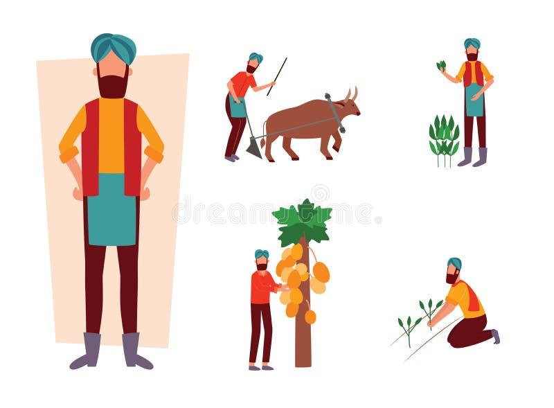 Ajuste do fazendeiro indiano e da sua atividade de trabalho no estilo liso dos desenhos animados do campo ilustração royalty free