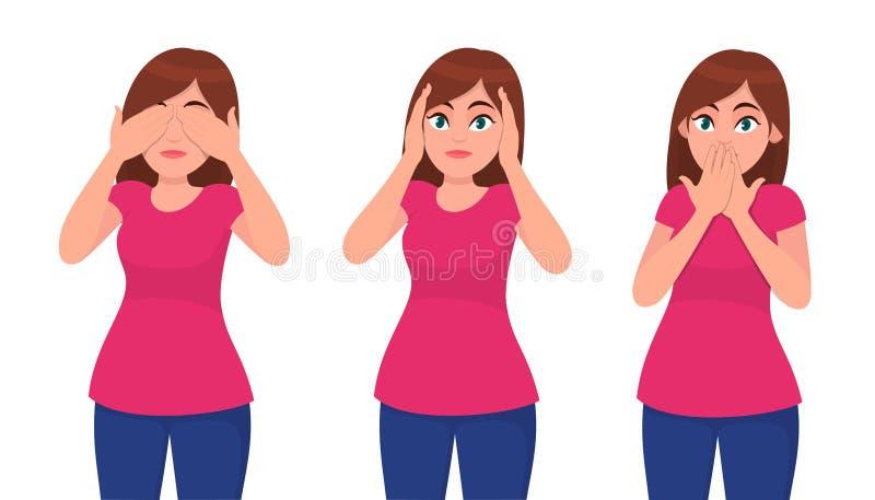 Ajuste do fechamento da jovem mulher/que cobre seus olhos, orelhas e boca como os três macacos sábios Não veja, não ouça e não fa ilustração do vetor