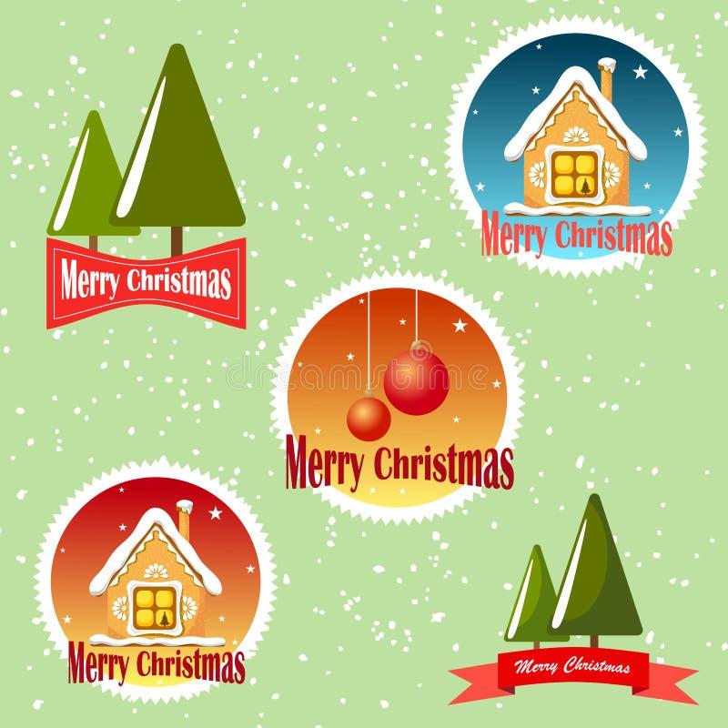 Ajuste do Feliz Natal dos emblemas no fundo verde com neve ilustração do vetor